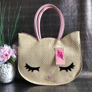 Luv Betsey Kitsch Kitty Straw Tote Bag